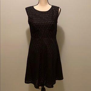 Loft black eyelet dress